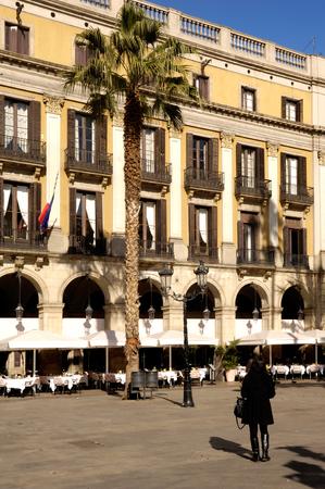 ramblas: Square of Reial in Barcelona, Catalonia, Spain Stock Photo