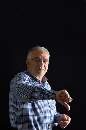 Senior Man with thumb down Archivio Fotografico