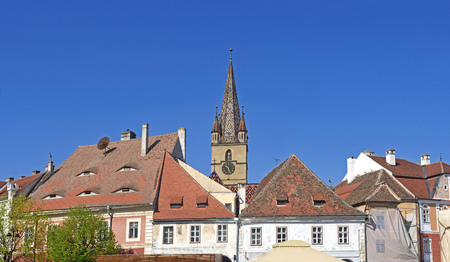 Roofs and bell tower of the Evangelical Lutheran cathedral of St Mary,14th century , Sibiu, Transylvania, Romania,