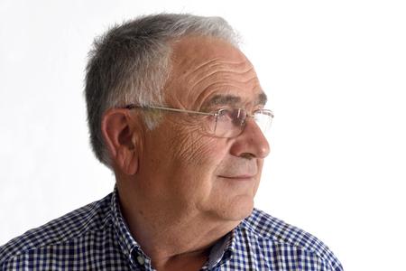 Senior man on white background Stock Photo