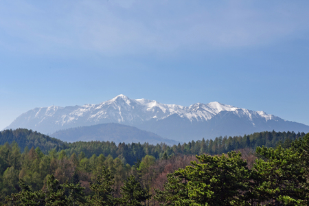 rumania: View of the carpados mountain from the Fortress of Rasnov, Transylvania, Rumania