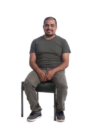 Portrait of a latin man on white background