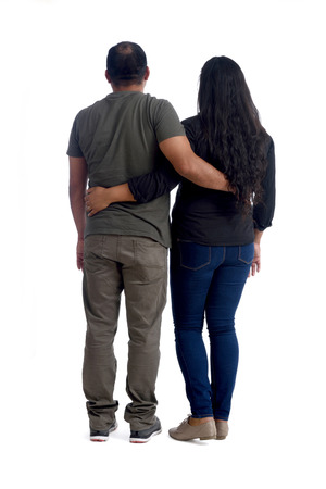 latinamerican couple in love on white
