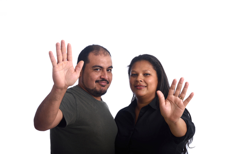 latinamerican: Couple Waving hand on white background