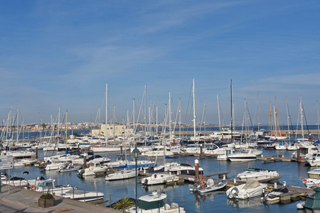 Harbor in the coastal town of Cascais in Portugal, Stock Photo