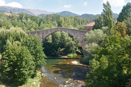 sant joan de les abadesses: old bridge of Sant Joan de les Abadesses, Ripolles, Girona province, Catalonia,Spain