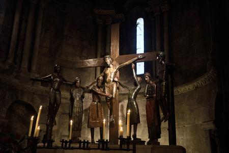 sant joan de les abadesses: Roman sculpture of  the Santissim Misteri of Sant Joan de les Abadesses, Ripolles, Girona province, Spain