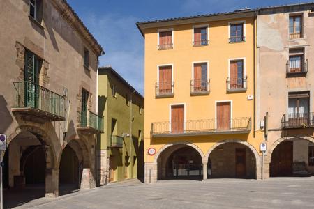 sant joan de les abadesses: Main square of  Sant Joan de les Abadesses, Ripolles, Girona province, Catalonia,Spain Stock Photo