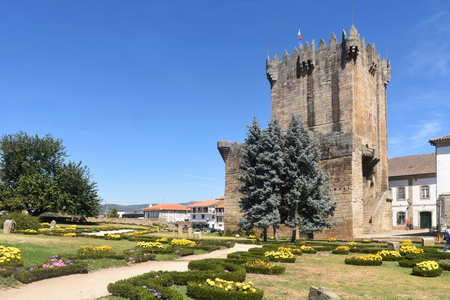 Tower of the castle in Chaves, Vila Real, north of Portugal Stock Photo