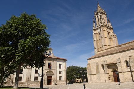City hall and Church of San Miguel in Ampudia. Spain