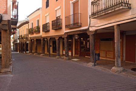 arcade of old streed of Medina de Rioseco, Valladolid province, Castilla y Leon, Spain