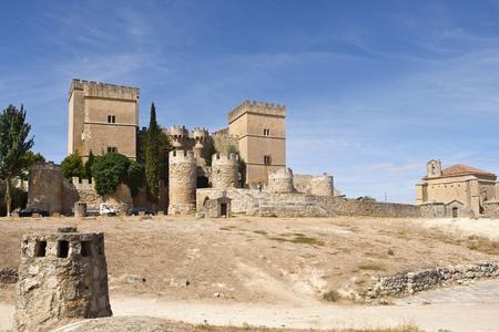 Castle and church of Santiago, Ampudia, Tierra de Campos region, Palencia province, Castilla y Leon, Spain