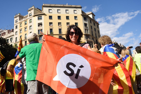 protesters in the manifestation of the (SI) in Barcelona, September 11, 2017
