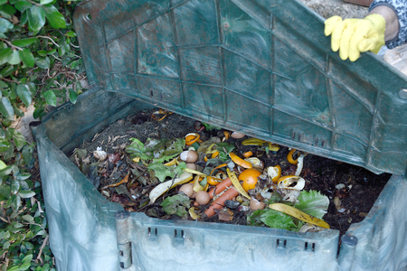 inside of a composting container Stok Fotoğraf