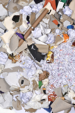 inside of a paper recycling container