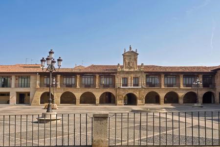 Main square of Santo Domingo de la Calzada, La Rioja, Spain Stock Photo