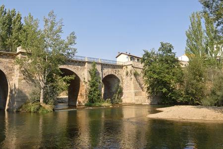 Old bridge of Carrion de los Condes, Palencia province, Spain Stock Photo