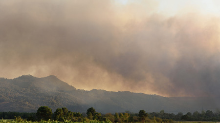 fire the Galician mountains, near Verin, Spain Banque d'images
