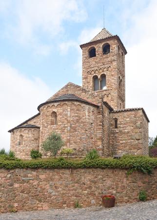 Église romane de Sant Vicens, Espinelves, province de Gérone, Catalogne, Espagne Banque d'images