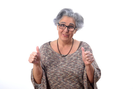 woman with thumb up on white background