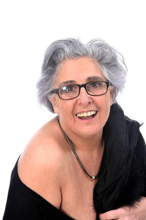 Eine ältere Frau mit einem sexy Haltungen auf weißem Hintergrund Standard-Bild - 94511211
