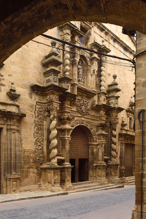 facade of la Asuncion chuch, Calaceite, Matarranya, Teruel province, Aragon,Spain