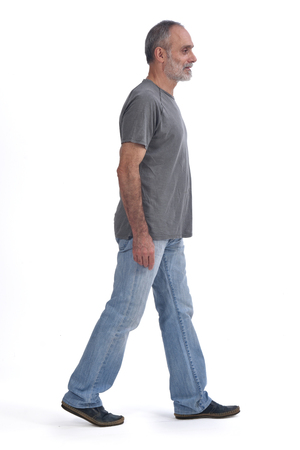 Portrait of a middle aged man walking