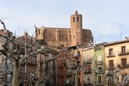 square and church  of Balaguer, Lleida province, Catalonia, Spain