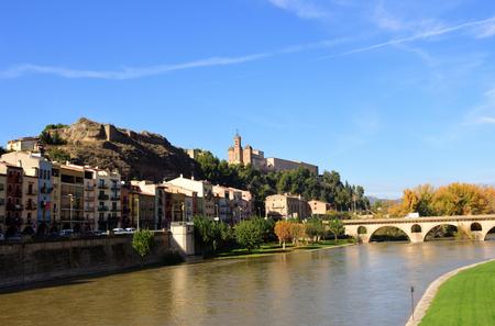 View of Balaguer with the river Segre, LLeida province, Spain