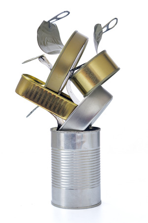 open cans stacked on white background Standard-Bild - 117411456