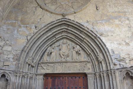 close up of Entrance door of San Salvador church, Sanguesa, Navarra, Spain
