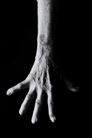 close up of senior woman hand