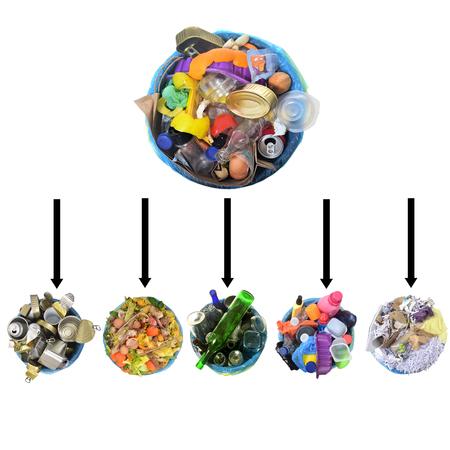 garbage without recycling, recycled garbage on white background Zdjęcie Seryjne