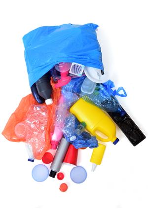 plastic garbage isolated on white Zdjęcie Seryjne