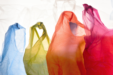 plastic bags of used and transparent colors