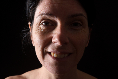 smiling portrait of a middle-aged woman Stock Photo