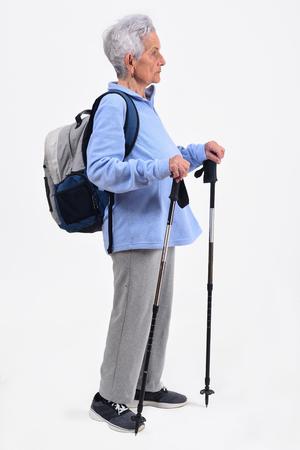 senior woman hiker on white background Stock Photo