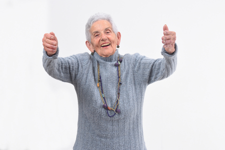 older woman who wants to give you a hug on white background