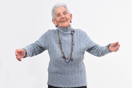 senior woman hugging on white background Zdjęcie Seryjne