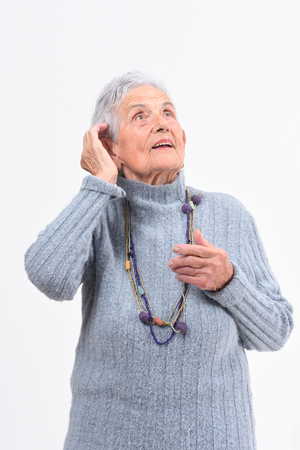 portrait of senior woman look up
