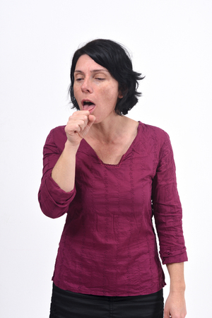 woman with cough on white background Zdjęcie Seryjne
