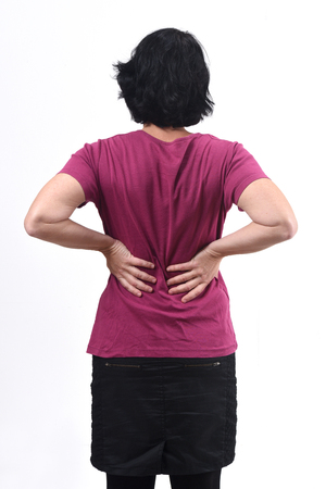 rear view of woman with pain back on white