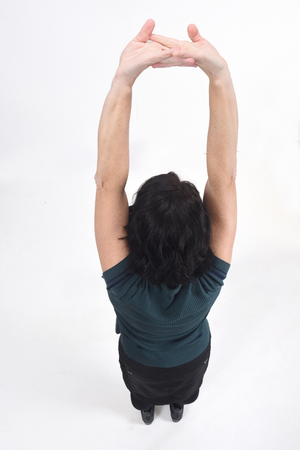 top view of woman extended arms