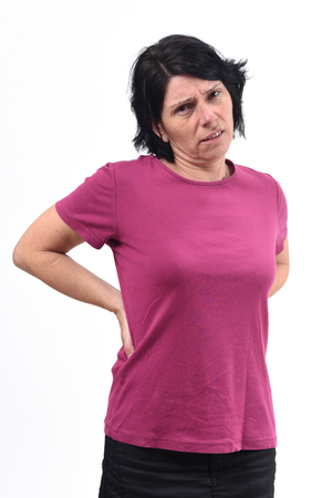 woman with pain back on white Stock Photo