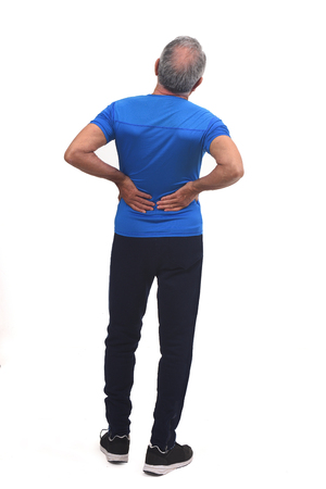 full portrait of the back of a man with pain in the back on white background