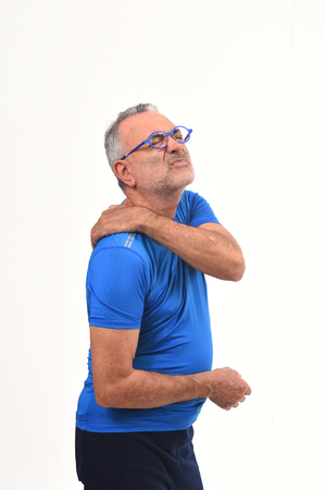 man with pain on shoulder on white background