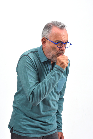 man with cough on white background Foto de archivo