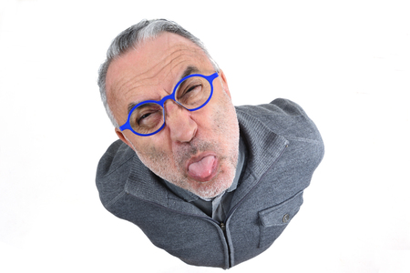 man making mockery on white background