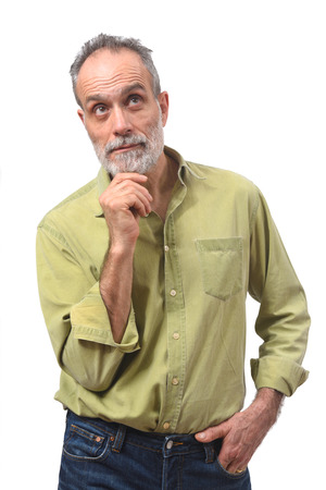 homme ayant un doute ou une question sur fond blanc Banque d'images