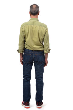 man dressed with  jeans isolated on white background